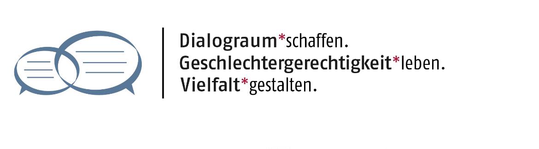 Logo Dialograum schaffen. Geschlechtergerechtigkeit leben. Vielfalt gestalten.